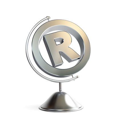 trademark: globe registered trademark sign 3d Illustrations on a white background Stock Photo