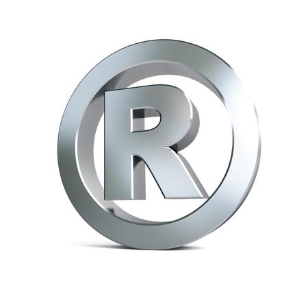 Eingetragene Marke sign 3d Abbildungen auf einem weißen Hintergrund Standard-Bild - 18199331