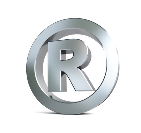 trademark: registered trademark sign 3d Illustrations on a white background