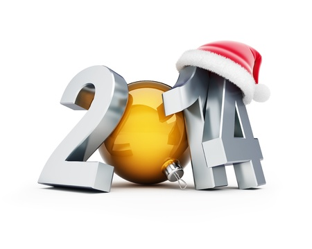 happy new year 2012 santa hat 3d Illustrations on a white background