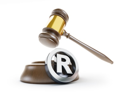 prosecution: gavel registered trademark sign 3d Illustrations on a white background