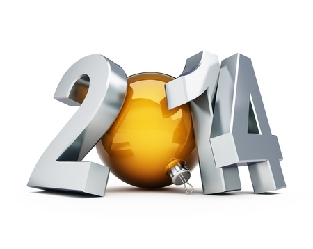 happy new year 2014 3d Illustrations on a white background illustration