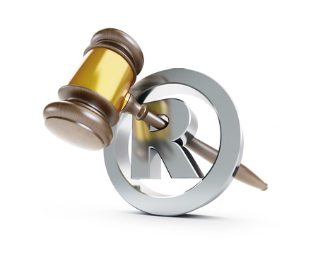 security laws: gavel registered trademark sign 3d Illustrations on a white background