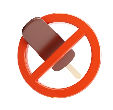sign ban on ice cream 3d Illustrations on a white background illustration
