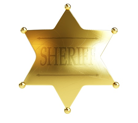 sheriffs: gold sheriffs badge on a white background