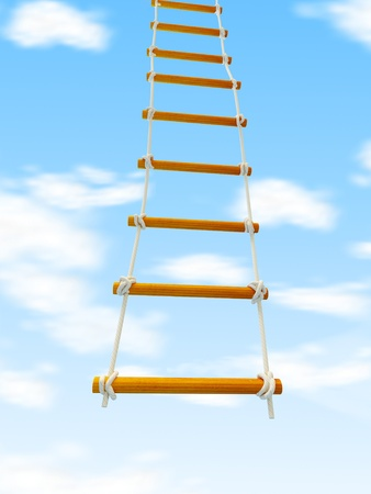escape ladder Stairway to Heaven 3d Illustrations on a white background illustration
