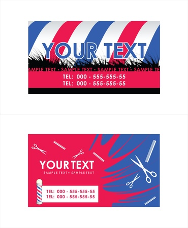 Barber Pole business cards illustration Vector