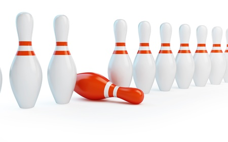 pin stripe: row skittles bowling on a white background