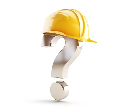 blue helmet: construction helmet question mark