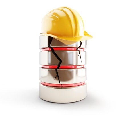 compromised: database broken construction helmet on a white background Stock Photo