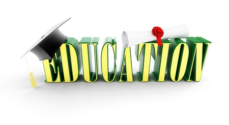 examiert: education and graduation cap on a white background