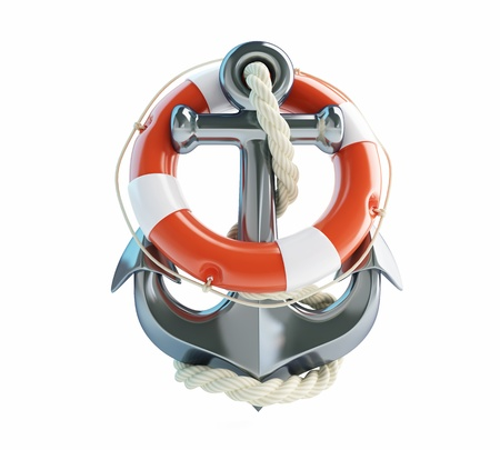 anchor and Life Buoy on a white background photo