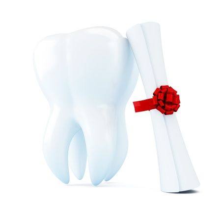 diploma dentist 3d Illustrations on a white background illustration