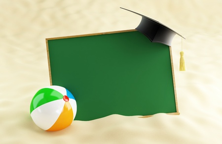 school at the beach, graduation cap blank, beach ball photo