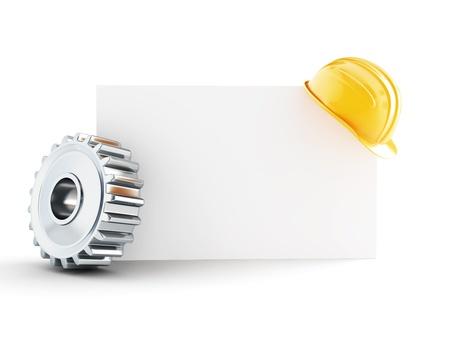 建設ヘルメット空白白い背景の上の 3 d イラストを形成します。