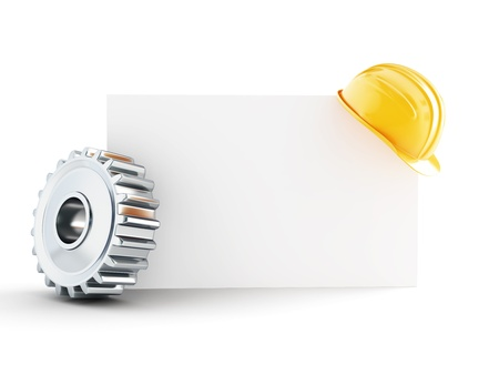 machine: construction helmet blank form 3d Illustrations on a white background Stock Photo