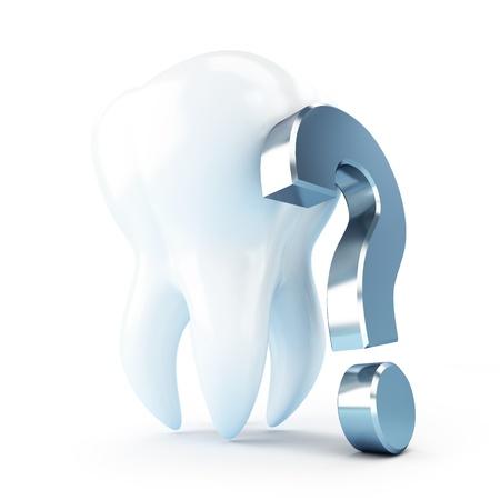 tandheelkundige behandeling onder een vraagteken 3d illustraties op een witte achtergrond Stockfoto