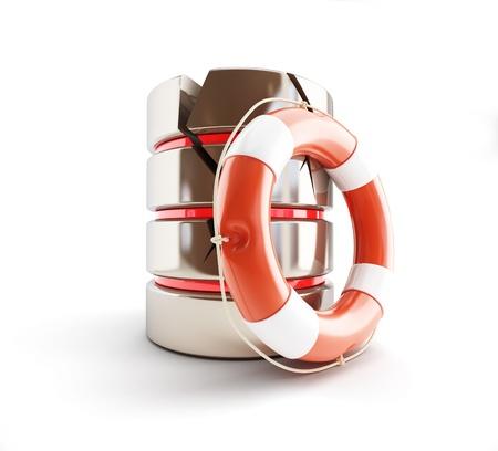 database is damaged, life buoy 3d Illustrations on a white background illustration