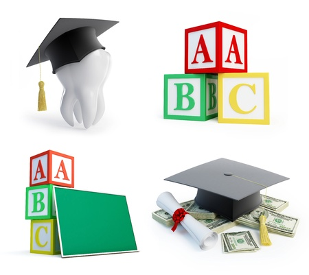 literacy: school set, graduation cap tooth on a white background