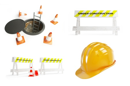 brick sign: under construction set on a white background