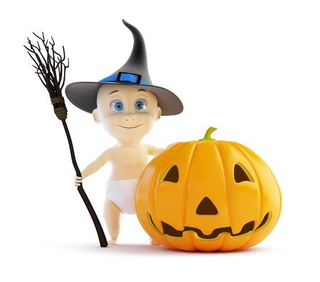 baby halloween pumpkin on a white background Stock Photo