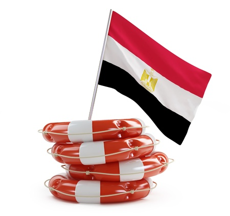 egypt revolution: egypt flag in rescue circle, lifebuoy, life buoy 3d Illustrations on a white background Stock Photo