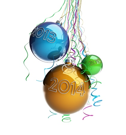Christmas glass ball Toys 2014 new year on a white background photo