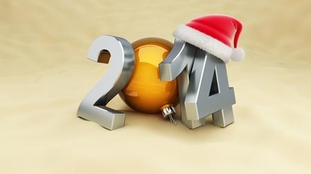 new year 2014 on the beach, santa hat Imagens - 21856984