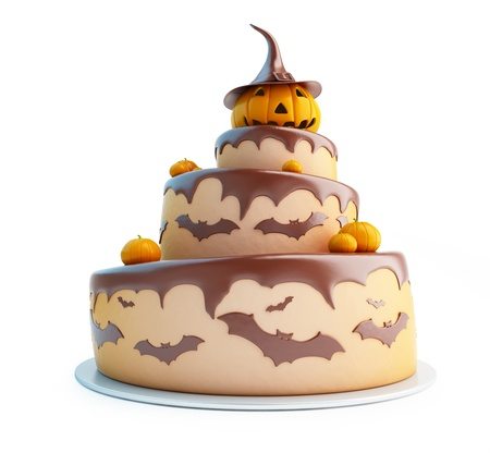 Torta di Halloween illustrazioni 3d su uno sfondo bianco