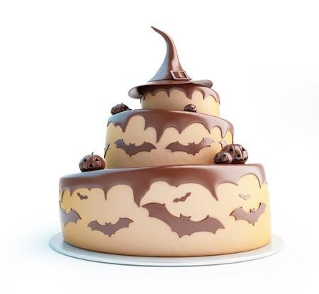 halloween cake 3d Illustrations on a white background illustration