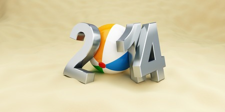 new year 2014 on the beach, beach ball. 3d Illustrations illustration