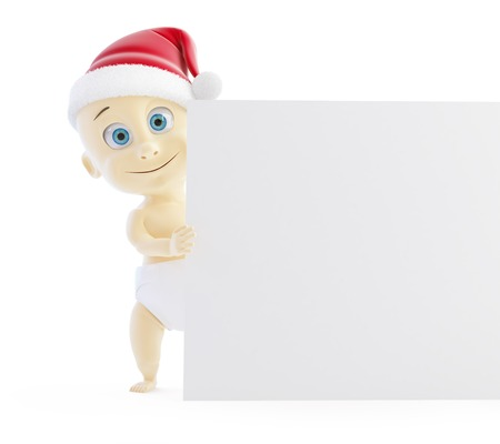 nappy new year: baby santa hat form on a white background