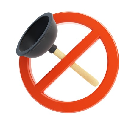 wc sign: no plunger 3d Illustrations on a white background