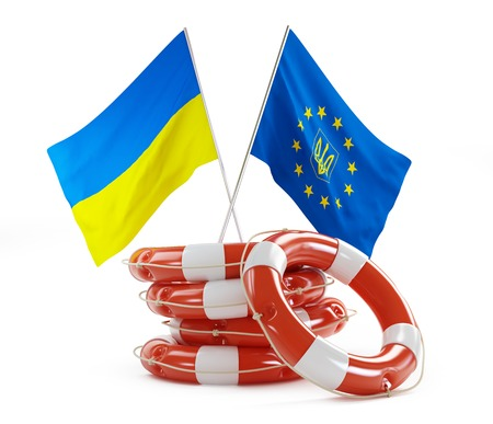 sos: flags of Ukraine and Europe help