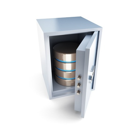 hdd: open safe database  on a white background Stock Photo