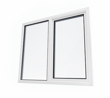 pvc: plastic window on a white background