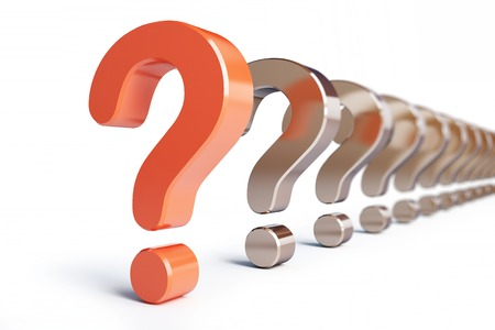 question mark row on a white background Stock Photo
