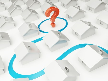 housing problems: home of dream question mark on a white background
