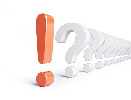 exclamation sign: exclamation mark and question mark a white background