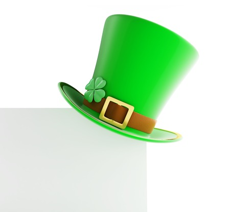 st patty day: St. Patricks day green hat on blank page white background