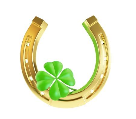 Jour de fer à cheval d'or de Saint-Patrick sur un fond blanc