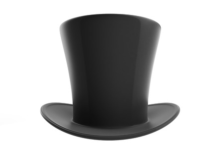Black top hat on white background Stock Photo