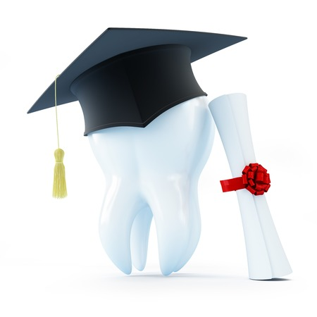 graduation cap tooth diploma dentist on a white background photo