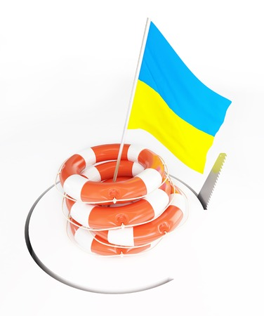 Life Buoy flags of Ukraine  hand saw cuts around photo