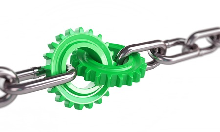 green gears chain links on a white background photo