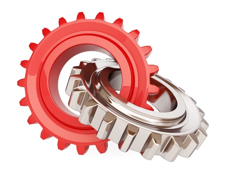 Two chrome gears on white background photo