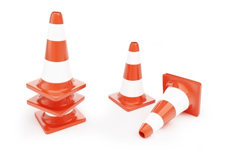 traffic cones, road construction on a white background photo