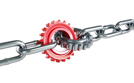 linking: red gears chain links on a white background
