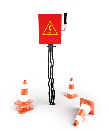 Road cone Electrical panel on a white background photo