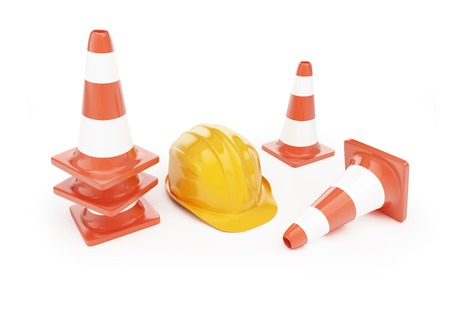 road cone hardhat on a white background photo